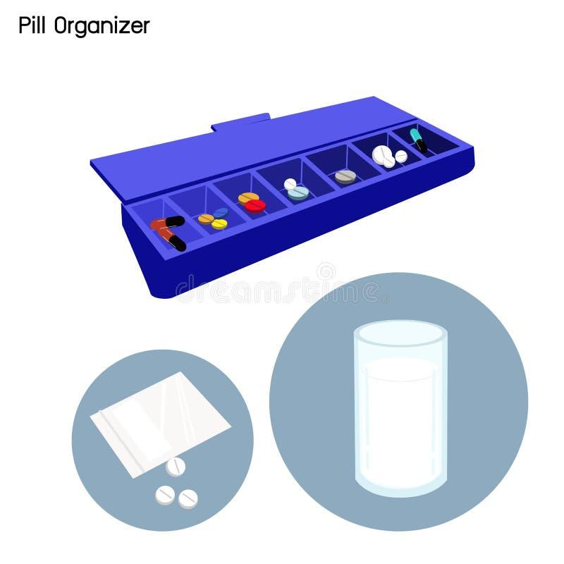 Organizador de la píldora para cada día de la semana stock de ilustración