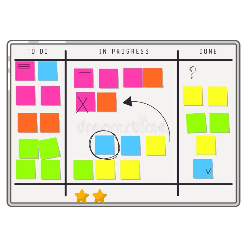 Organizador del whiteboard del planeamiento con las notas de la etiqueta engomada stock de ilustración