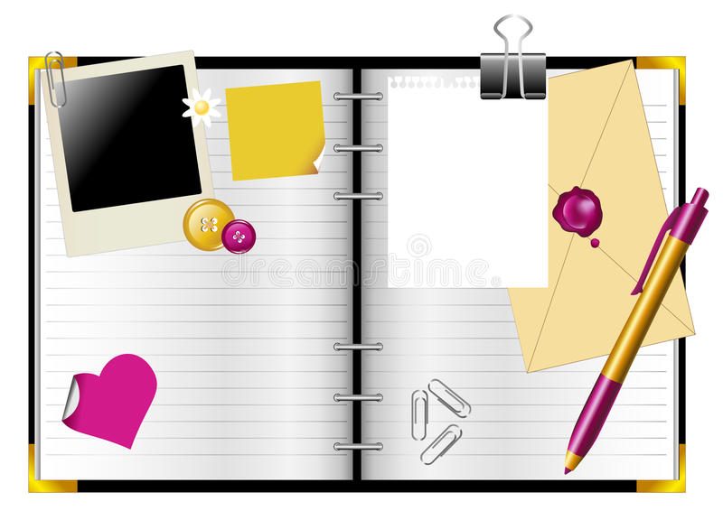 Organizador pessoal do diário ilustração do vetor