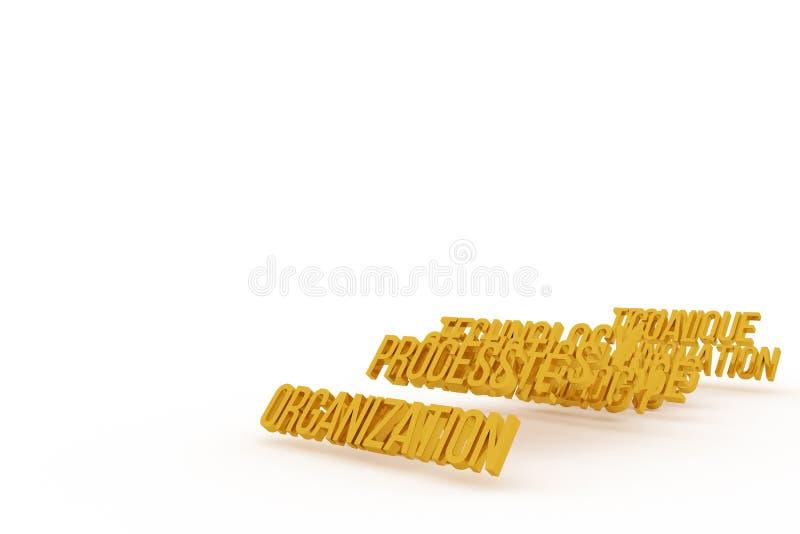 Organization, business conceptual golden 3D words. Design, wallpaper, background & caption. Organization, business conceptual golden 3D words. illustrations cgi stock illustration