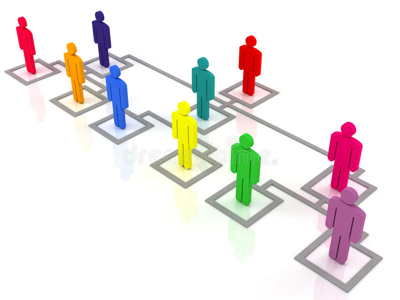 Organization chart. Colorful group of people standing on the organization chart vector illustration