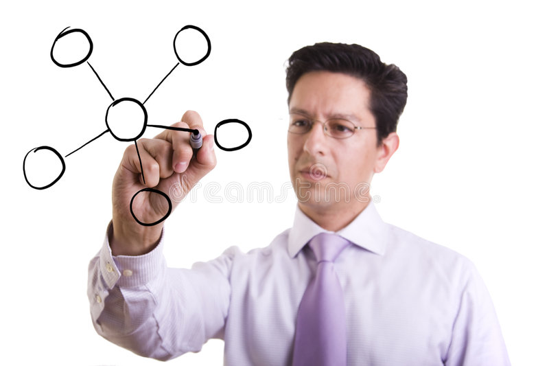 Organization chart. Businessman drawing a organization chart in a whiteboard (selective focus stock image