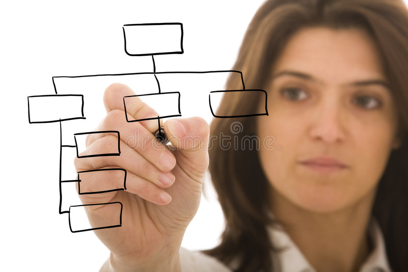 Organization chart. Businesswoman drawing an organization chart on a white board (focus on the draw and point of the pen stock photo