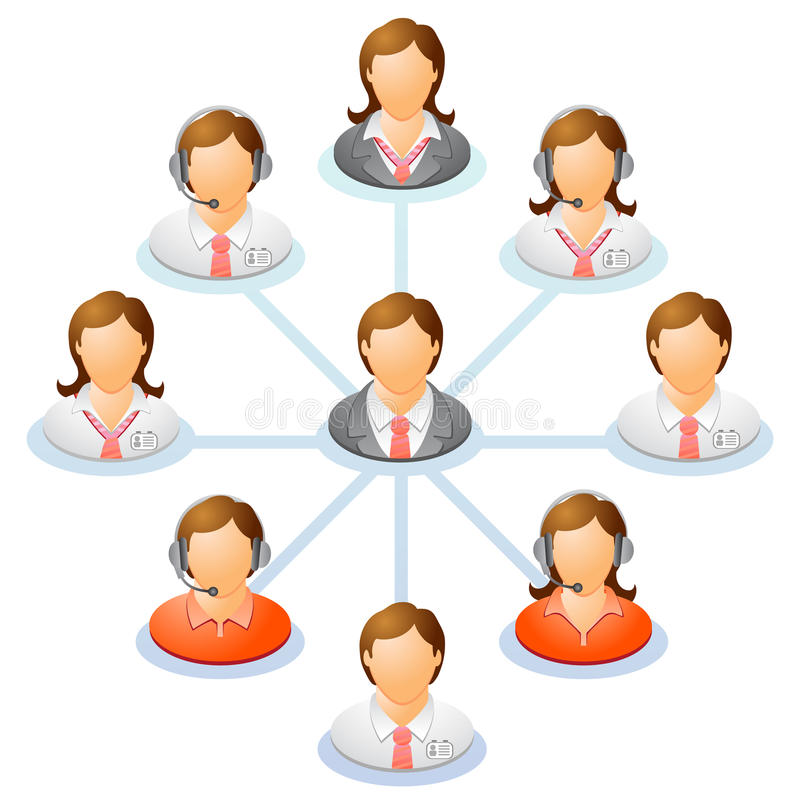 Organization chart. Teamwork flow chart. Network of people. Spider Diagram. Vector illustration stock illustration