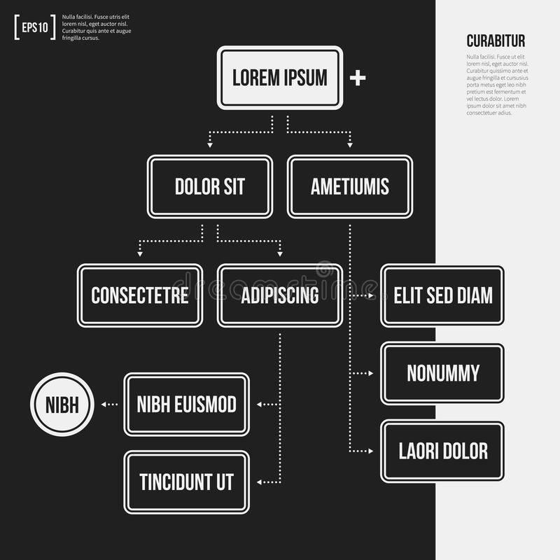 Organization chart template with geometric elements. On black background. Useful for science and business presentations vector illustration