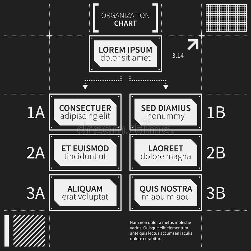 Organization chart template with geometric elements. On black background. Useful for science and business presentations stock illustration