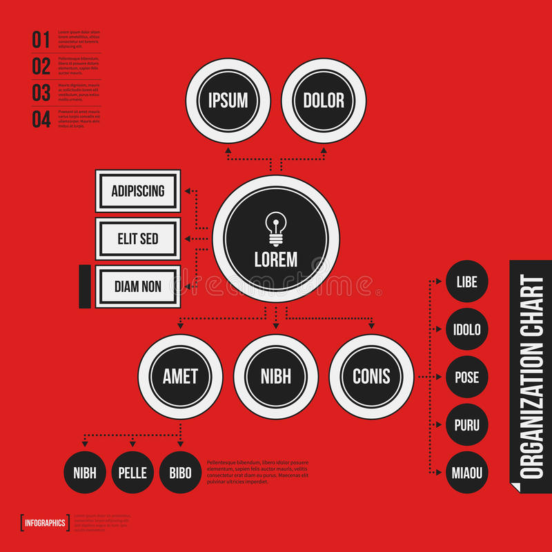 Organization chart template with geometric elements on bright red background. Useful for science and business presentations royalty free illustration