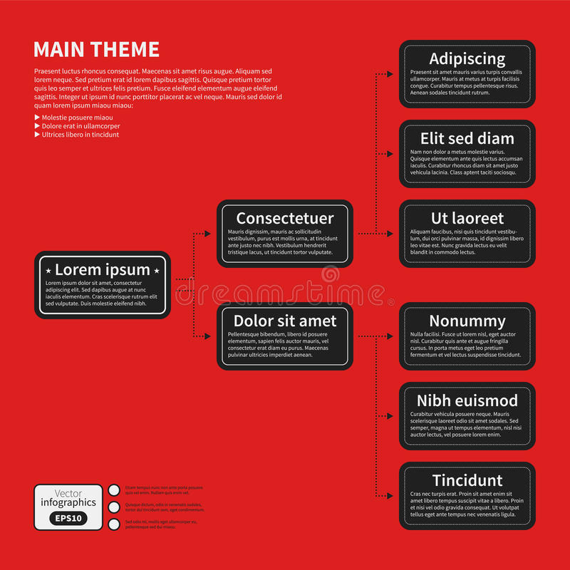 Organization chart template with geometric elements on bright red background. Useful for science and business presentations stock illustration