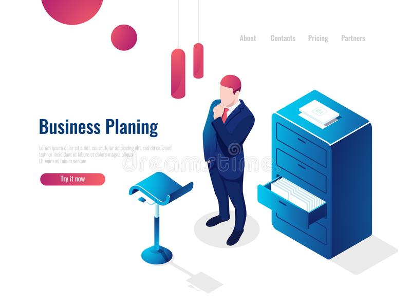 Organization of the working process isometric, work with documents, paperwork, the man thinks brainstorming, office. Interior people vector stock illustration