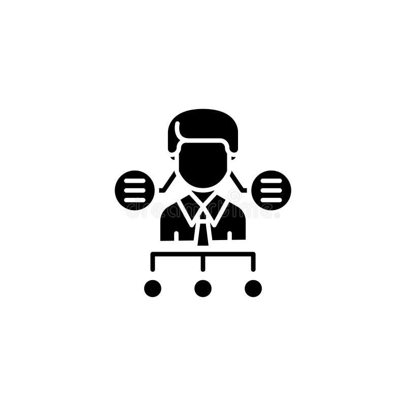 Organizational business structure black icon concept. Organizational business structure flat vector symbol, sig royalty free illustration