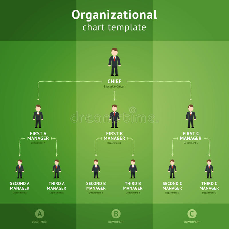 Organizational chart template. Hierarchy diagram from chef to subordinates on a green background. Organizational chart template. Vector illustration vector illustration