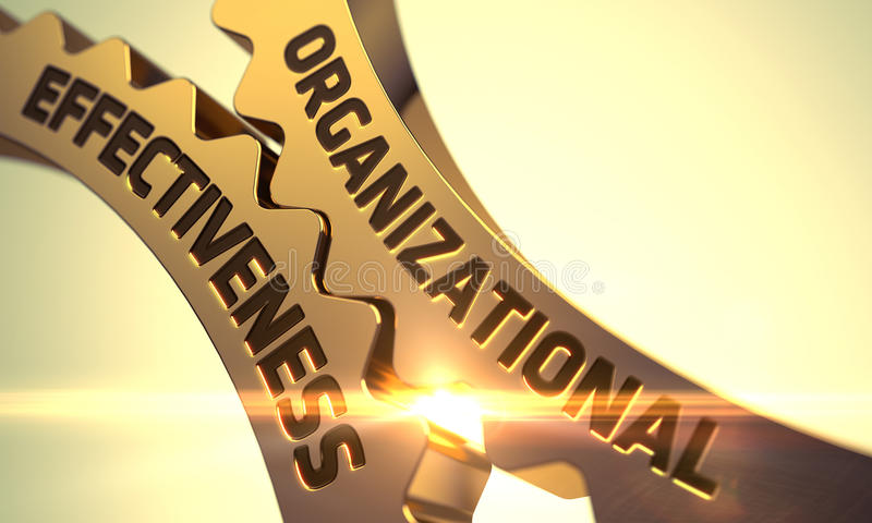 Organizational Effectiveness on Golden Gears. 3D. Golden Metallic Cogwheels with Organizational Effectiveness Concept. 3D Render royalty free stock photos