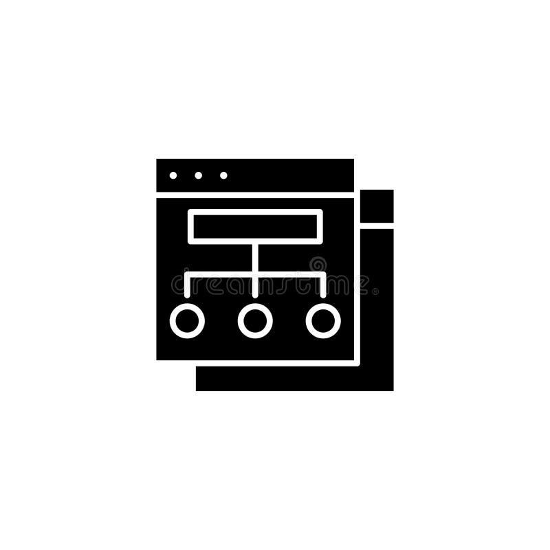 Organizational marketing structure black icon concept. Organizational marketing structure flat vector symbol, sig vector illustration