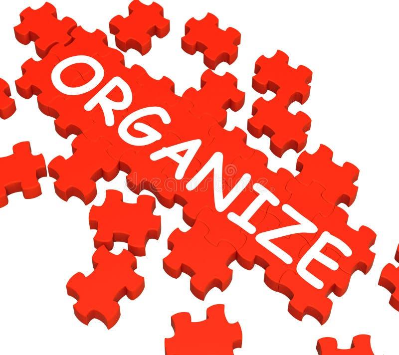 Organize as mostras do enigma que arranjam ou que organizam ilustração do vetor