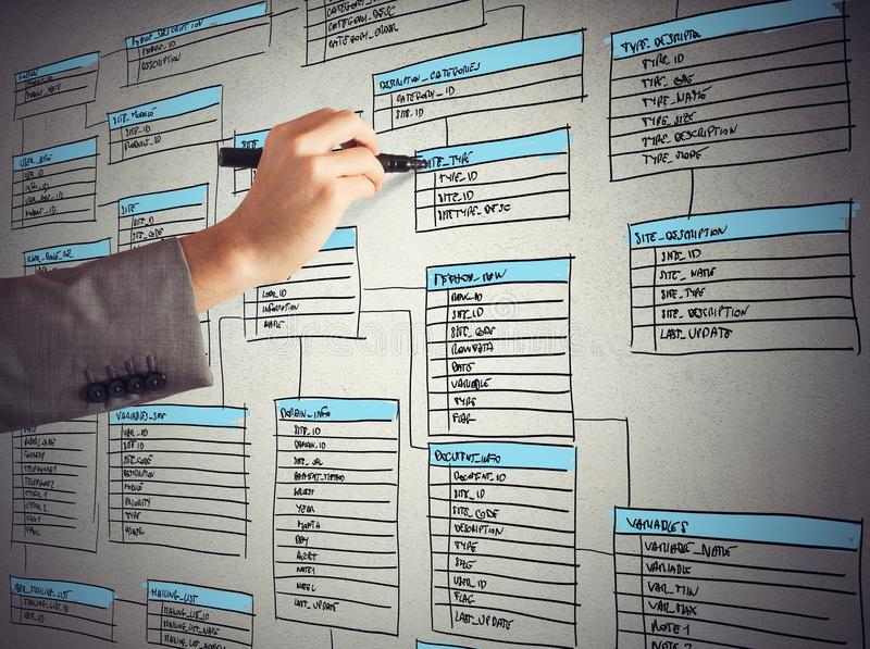 Organize a database stock image. Image of draw, network - 51051931