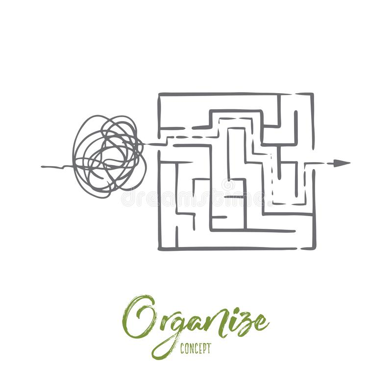 Organize, peça, controle, classifique, conceito do caos Vetor isolado tirado mão ilustração royalty free