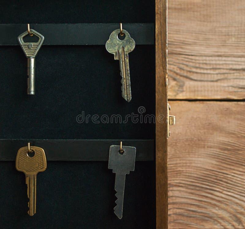 Organize seu conceito da vida, do seguro e da segurança: o vintage abriu o armário chave de madeira da caixa do suporte com as ch imagem de stock
