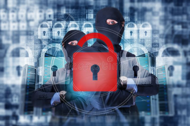 Organized Cybercrime Group. Broken System by Group of Hackers Concept Illustration. Cybercrime and Internet Safety stock photo