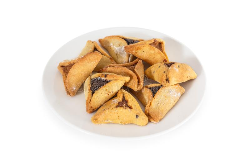 Haman`s ears are also called Hamantaschen - a traditional Jewish pastry for Purim holiday. royalty free stock photos