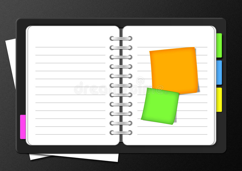 Organizer. Whit colored post-it on black background stock illustration
