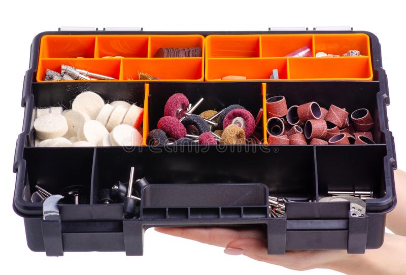 Organizer accessories to a drill in hand royalty free stock photos