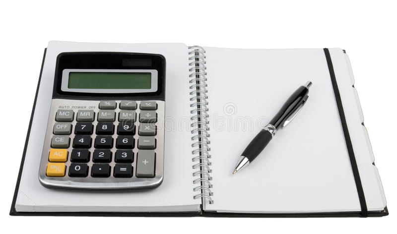 Organizer and calculator with pen stock photo