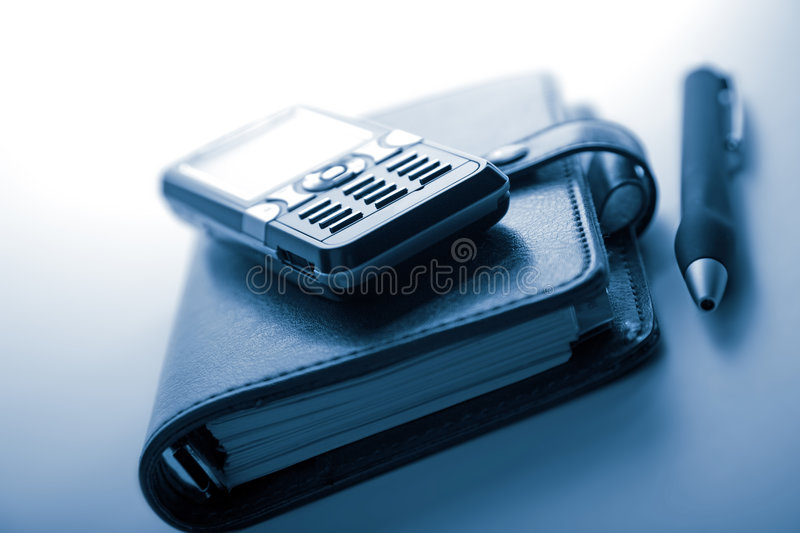 Organizer and mobile phone royalty free stock image