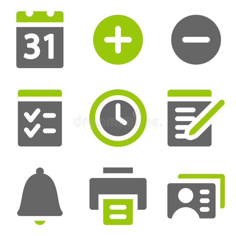 Organizer web icons, green grey solid icons royalty free illustration