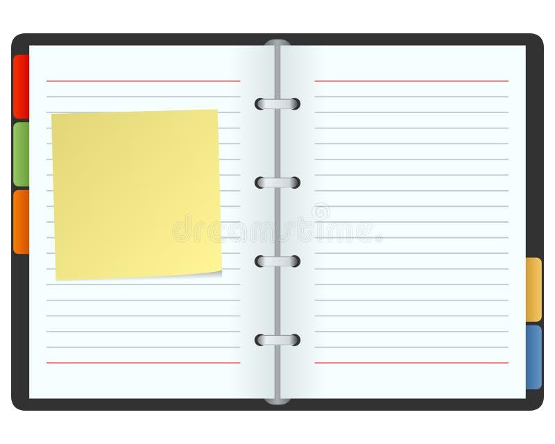 Organizzatore in bianco con il post-it illustrazione vettoriale