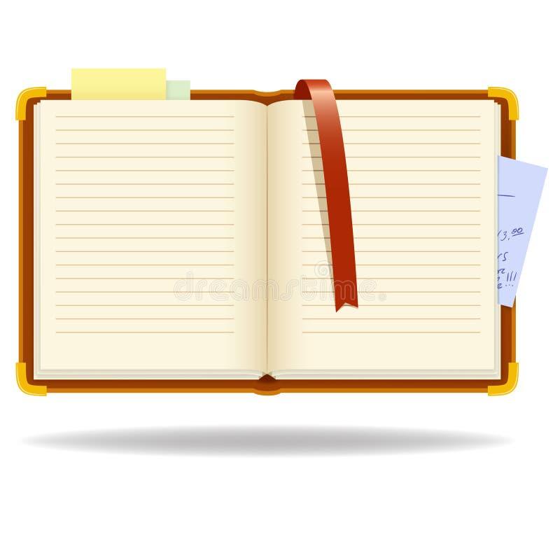 Organizzatore del blocchetto per appunti di vettore con il segnalibro royalty illustrazione gratis