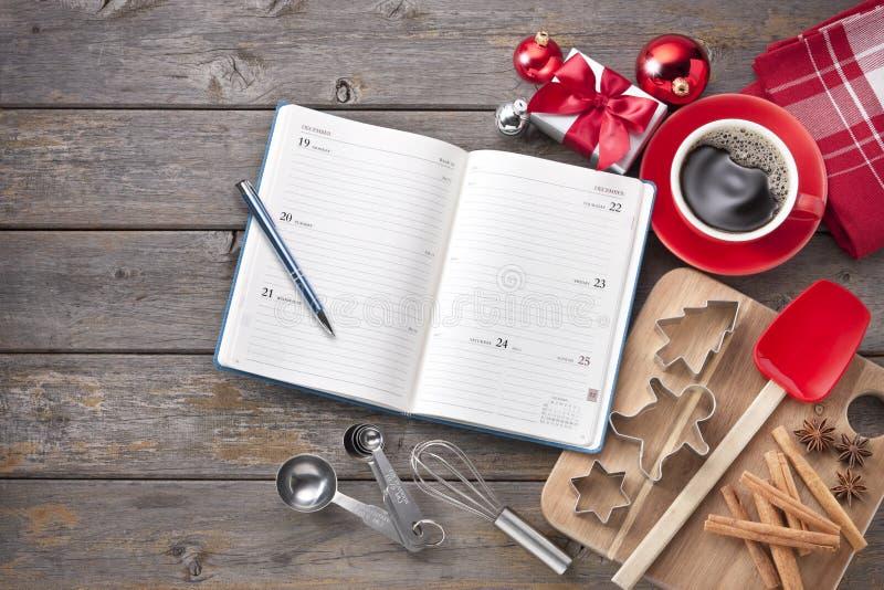 Organizzatore di cottura del calendario di Natale immagine stock libera da diritti
