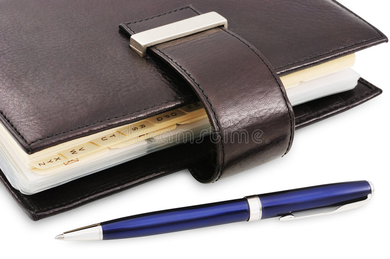 Organizzatore e penna fotografie stock