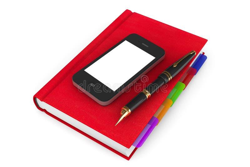 Organizzatore rosso Notebook con il telefono cellulare e la penna fotografia stock