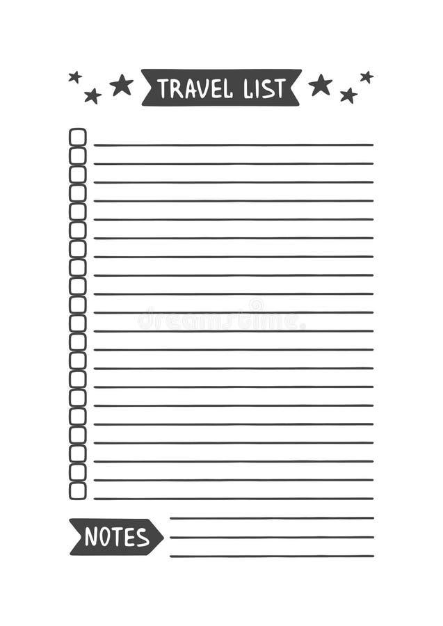 Organizzatore stampabile della lista di viaggio per lo studio, la scuola o il lavoro illustrazione di stock