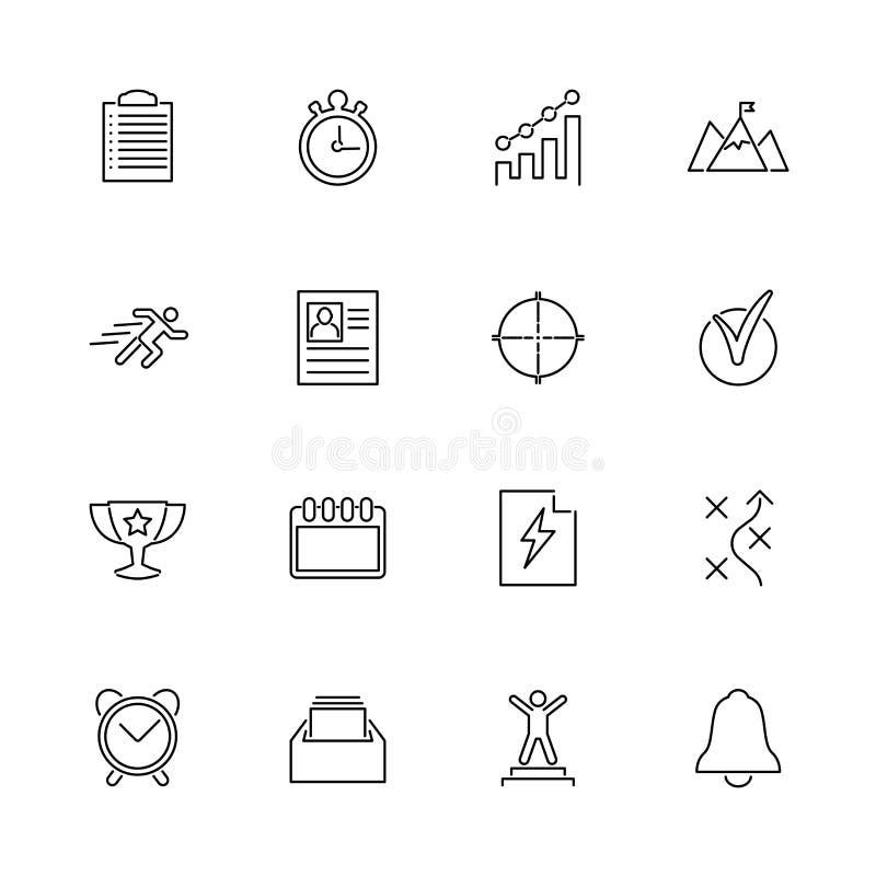 Organizzazione di pianificazione - linea piana icone di vettore illustrazione di stock