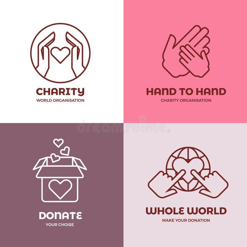 Organizzazione senza scopo di lucro e volontaria, carità, insieme di logo di vettore di concetto di filantropia illustrazione vettoriale