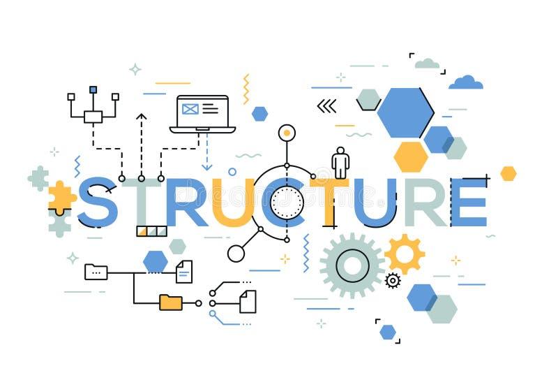Organizzazione strutturale del processo aziendale, sistemante struttura e progettante concetto illustrazione di stock