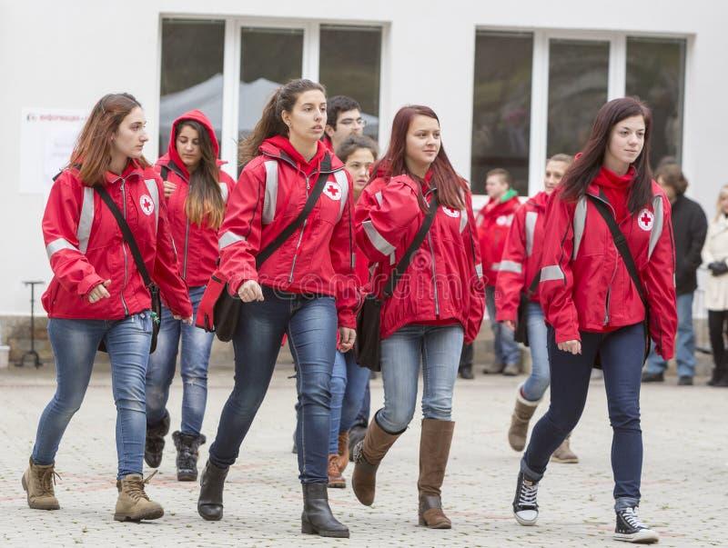 Organizzazione volontaria bulgara della gioventù della croce rossa (BRCY) fotografia stock libera da diritti