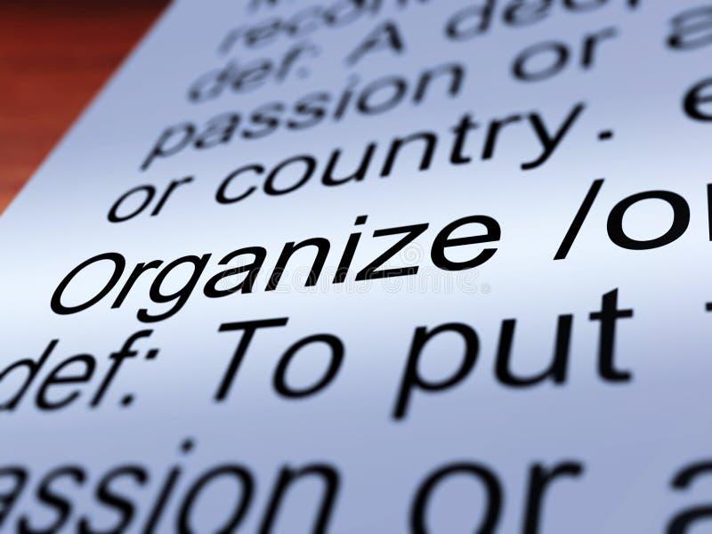Organizzi il primo piano della definizione che mostra il controllo royalty illustrazione gratis