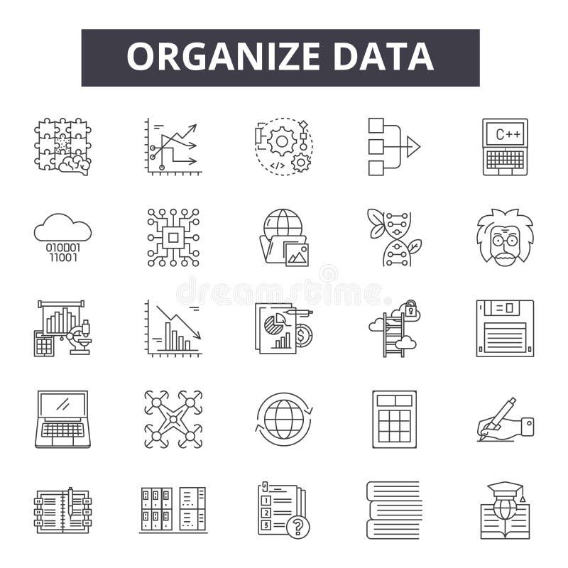 Organizzi la linea di dati le icone, i segni, l'insieme di vettore, concetto dell'illustrazione del profilo illustrazione vettoriale