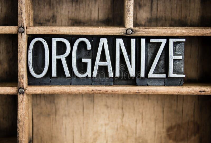 Organizzi la parola dello scritto tipografico del metallo di concetto in cassetto fotografie stock