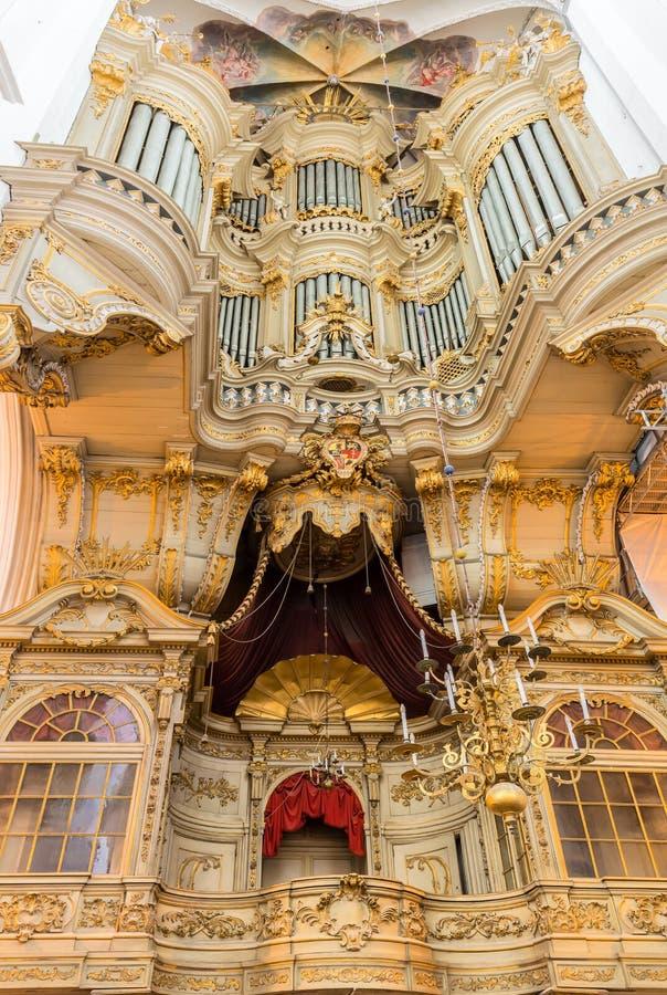 Organo barrocco Marienorgel nella chiesa di St Mary, Rostock (Germania) immagini stock libere da diritti