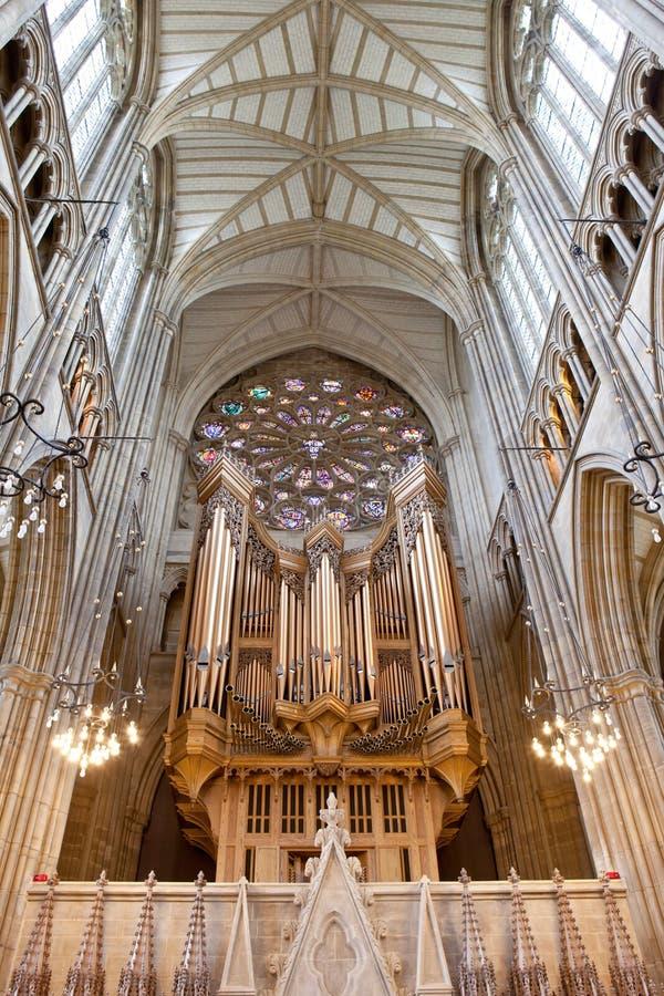 Organo in cappella Lancing in istituto universitario Lancing, Inghilterra fotografia stock libera da diritti
