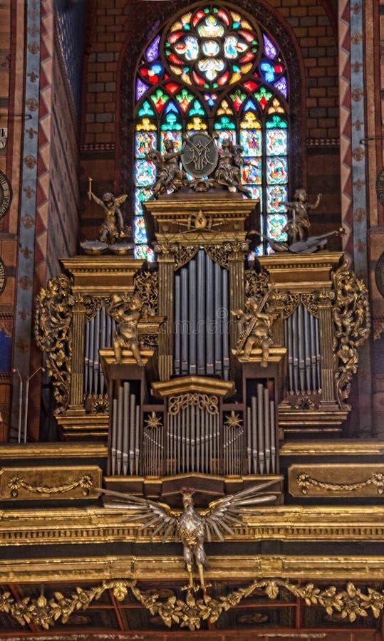 Organo Cracovia della basilica della st Marys immagini stock libere da diritti