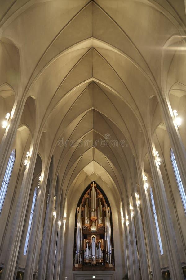 Organo della chiesa di Hallgrimskirkja a Reykjavik fotografia stock libera da diritti