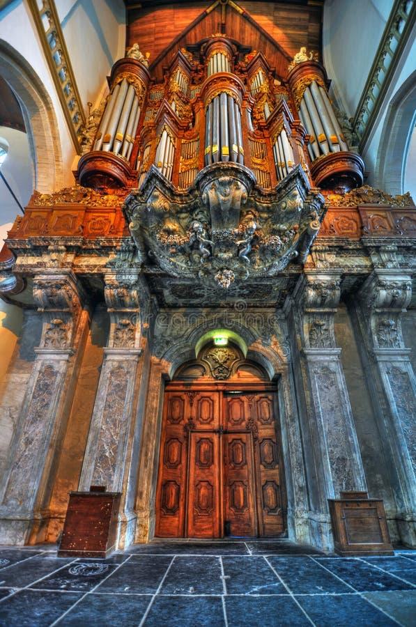 Organo di Amsterdam Oude Kerk fotografia stock libera da diritti
