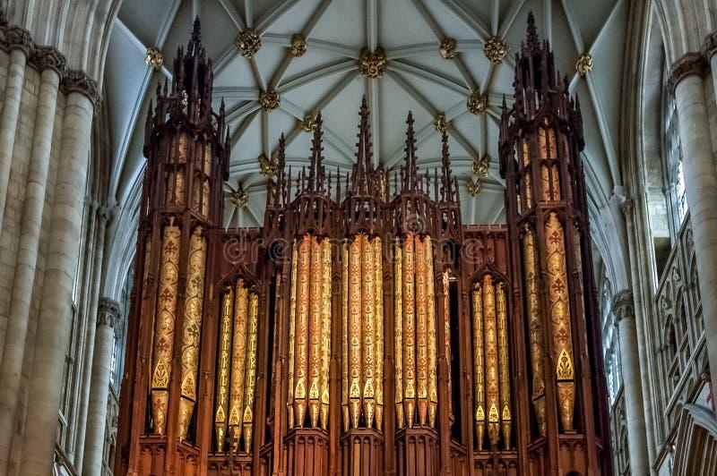 Organo di York Minster a York, Inghilterra fotografie stock libere da diritti