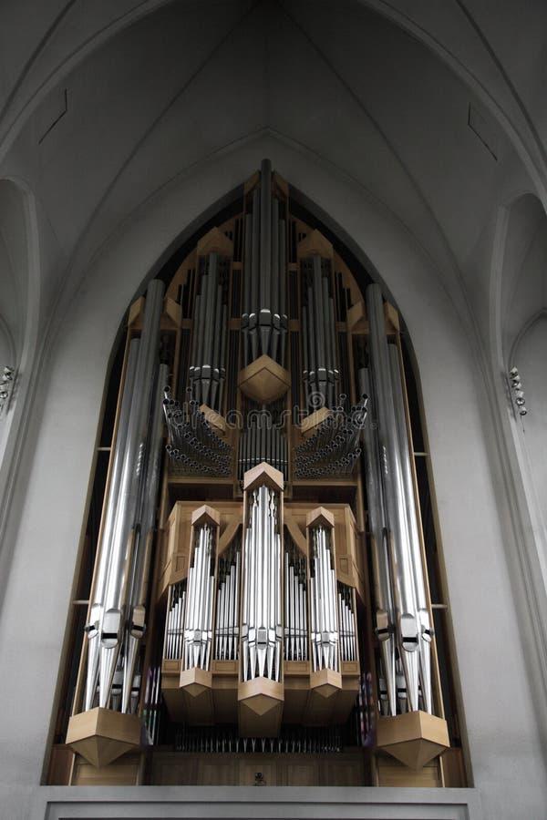 Organo Hallgrimskirkja della chiesa fotografia stock