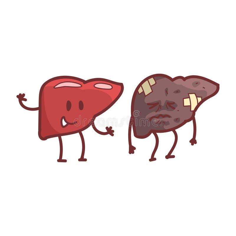 Organo interno umano del fegato sano contro le paia divertenti anatomiche non sane e mediche del personaggio dei cartoni animati  illustrazione vettoriale