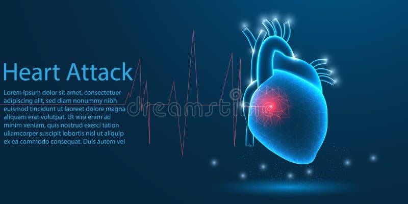 Organo medico di attacco di cuore umano poli concetto basso di tema del wireframe su fondo blu Illustrazione illustrazione di stock